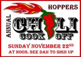 Hoppers Chili Cook off Nov 22
