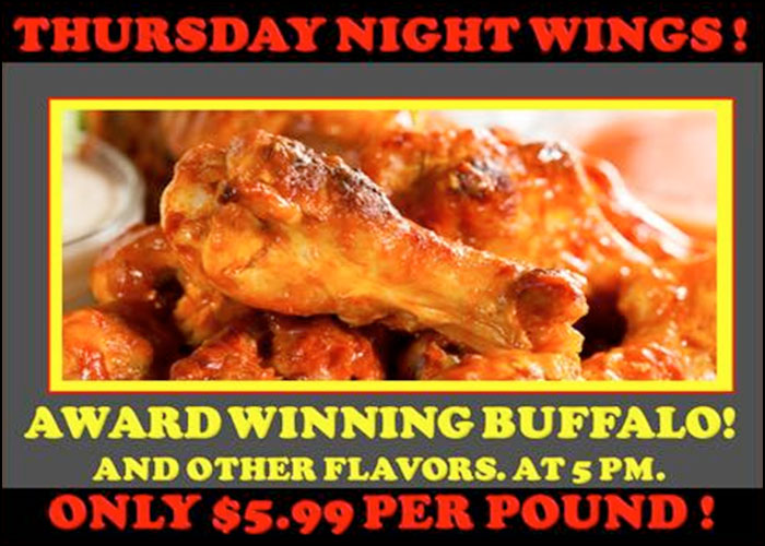 Thursday Night Wing Special At Hoppers