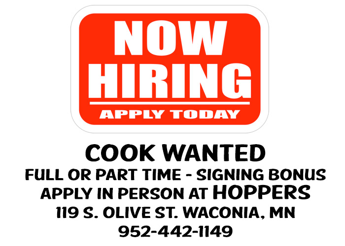 Hoppers Now Hiring Full or Part Time Cook